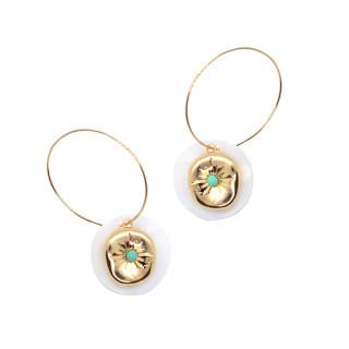 Boucles d'oreilles doré et turquoise