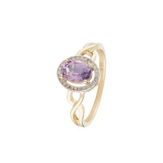 Bague Or Jaune Diamant et Améthyste