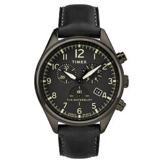 Montre Homme Timex Waterbury Traditional Chrono Boîtier 42mm en Acier Gris Foncé et Bracelet Noir - TW2R88400