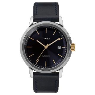 Montre Homme Timex Marlin Automatique Boîtier SST 40mm en Acier Cadran Bleu foncé index doré  - TW2T23100