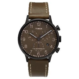 Montre Homme Timex Waterbury Classic Chrono Boîtier 40mm en Acier Noir Cadran Marron  - TW2T27900