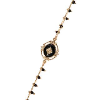Bracelet Bohème doré et émail noir