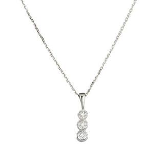 Pendentif Mini trilogy Or Blanc et Diamants