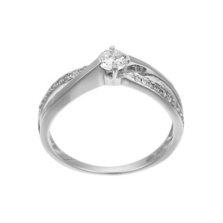 Solitaire Or Blanc et Diamants 0,27 carat JOLI SOLITAIRE