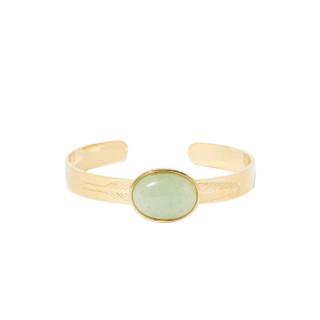 Bracelet acier doré à l'or fin et jade