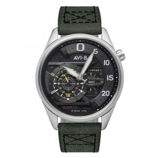 Montre Homme AVI-8 HAWKER HARRIER II Automatique Cadran noir Bracelet cuir vert