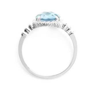 Bague Or Blanc 375 MISS TOPAZE Diamants 0,12 carat et Topazes 2,33 carat