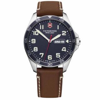 Montre Homme Victorinox FIELDFORCE, boîtier acier inoxydable, bracelet cuir marron - 42 mm