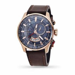 Montre Homme Foxter Avalone bracelet cuir marron, Boîtier Acier PVD Rose et fond bleu - FR6043C4BC2
