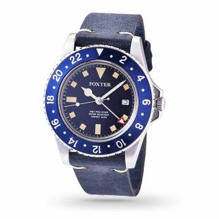 Montre Homme Foxter Sixties bracelet cuir bleu, boitier acier, fond bleu - SIXTIES5