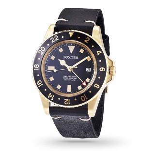 Montre Homme Foxter Sixties bracelet cuir noir, boitier PVD doré et fond noir - SIXTIES1