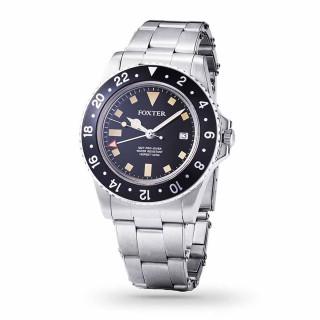 Montre Homme Foxter Sixties bracelet acier, boitier acier et fond noir - SIXTIES8