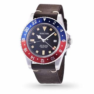 Montre Homme Foxter Sixties bracelet cuir noir, boitier acier et fond noir - SIXTIES4