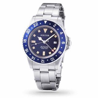 Montre Homme Foxter Sixties bracelet acier, boitier acier et fond bleu - SIXTIES7