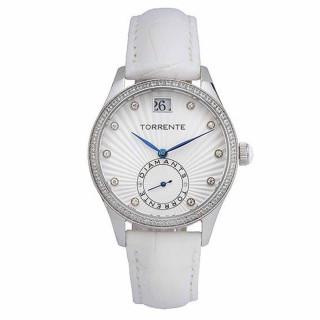 Torrente - Montre Sigma Cadran Blanc - Boîtier Acier- Aiguilles Bleu - Bracelet Cuir Blanc - Diamants 0.01 carats Femme