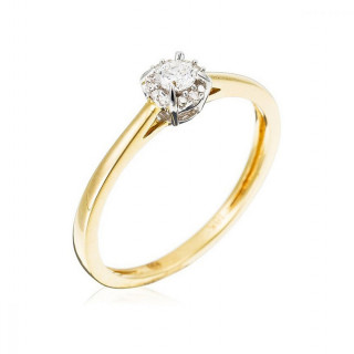 Solitaire Or Jaune et Diamants 0,10 carat Amoureuse