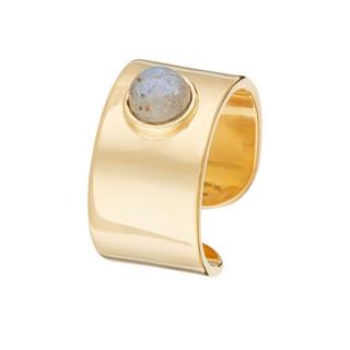Bague doré Labrodorite grise crystal