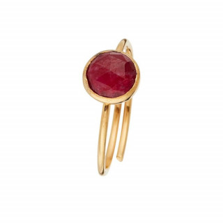 Bague doré Cyanite rouge