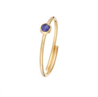 Bague doré Point Cyanite bleue