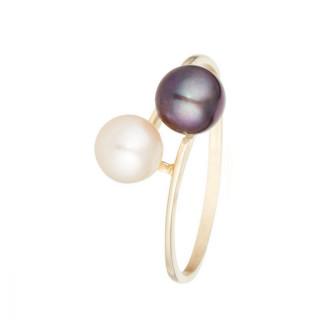 Bague Or jaune 375/1000 et perles