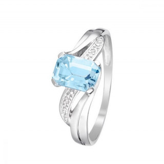 Bague Or Blanc 375 Diamants et Topaze