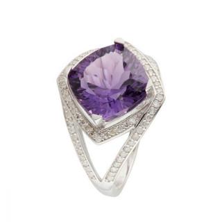 Bague Or Blanc 375 Diamants et Améthyste