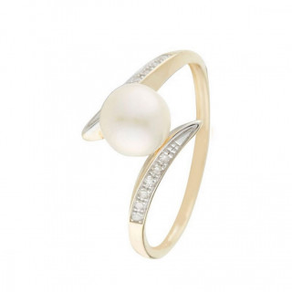 Bague Or Jaune 375 Diamants et Perle