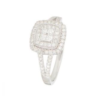 Bague Or Blanc 375 et Diamants