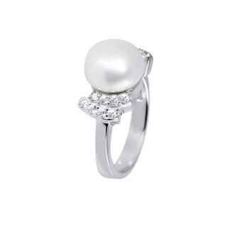 Bague argent, perle de culture Blanche et oxydes de zirconium Perle Royale