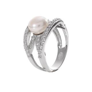 Bague argent, perle de culture Blanche et oxydes de zirconium Esprit de perle