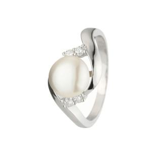 Bague argent, perle de culture Blanche et oxydes de zirconium Queen Star