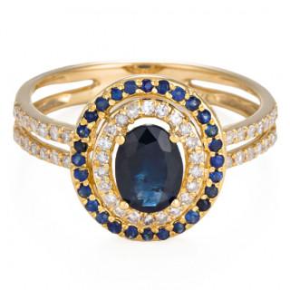 Bague Or Jaune 375 Diamants et Saphir
