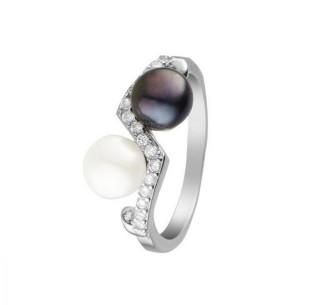 Bague Argent 925, zirconium et perles de culture