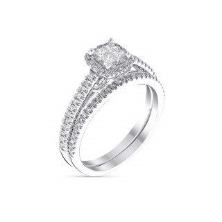 Duo Solitaire Alliance Or Blanc et Diamants 0,52 carat BRILLANT DUO