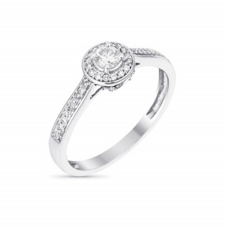 Solitaire Or Blanc et Diamants 0,30 carat BRILLANT SOMPTUEUX