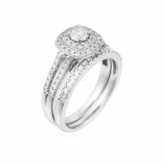Duo Solitaire Alliance Or Blanc et Diamants 0,65 carat TURN AROUND