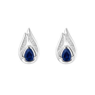Boucles d'oreilles Or Blanc Diamant et Saphir
